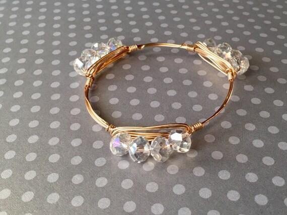 Clear bangle bracelet, Faceted nugget bangle, wire wrapped bangle, bridesmaid gift, bridal jewelry, 3 stone bangle, cluster bangle bracelet