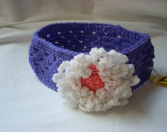 Girl's Purple Flower Headband / Child Crochet Purple Headband / Child Easter Headband / Lacy Purple Flower Headband / Purple Hair Accessory