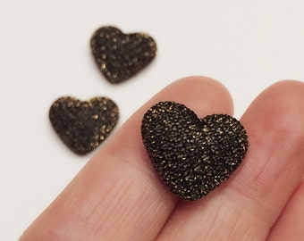 3 Puffy Heart Cabochons / Black Gold Heart Cabochons / 20 mm Cabochons / Shiny Gold Buttons / CA20NS