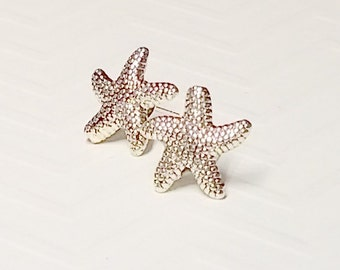 Silver Spotted Starfish Stud Earrings, Silver-plated posts, 12mm,