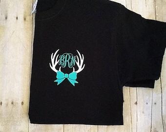 Pocket size Monogram deer antlers t-shirt // antlers monogram shirt // monogram shirt // antlers monogram // monogram deer shirt