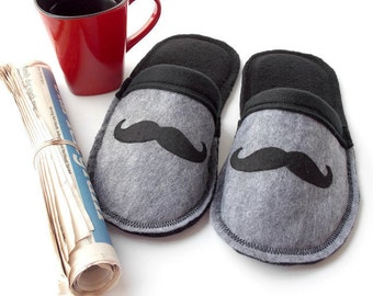 Mr. Mustache Slippers for Men House Shoes, Custom Fathers Day Gift for Him, Dad, Grandpa, Husband, Felt Indoor Scuffs w/ Fleece Lining