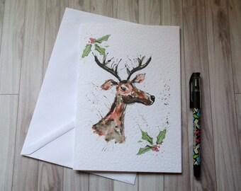 Christmas card, reindeer Christmas, Christmas blank card, reindeer card, Merry christmas