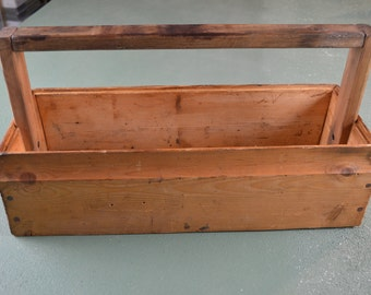 Wood Tool Tote, Vintage Tool Box, Rustic Tool Caddy, Country Decor, Carpenters Tools, #423
