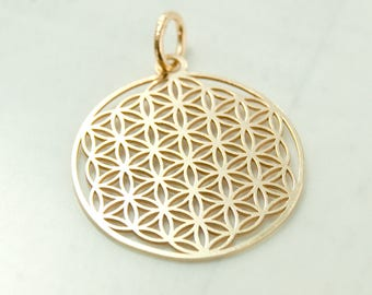 Flower of life, pendant with loop, 925 silver gold pl. art.3275