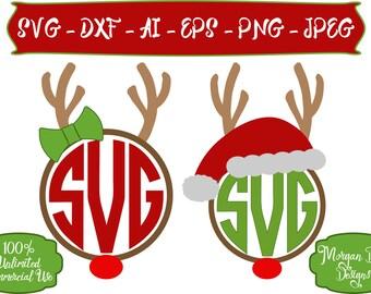 Christmas SVG -  Monogram Reindeer SVG - Girl Reindeer SVG - Reindeer - Christmas Clipart - Files for Silhouette Studio/Cricut Design Space