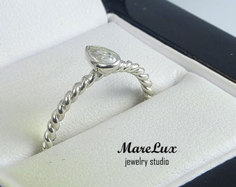 Pear Cut Diamond Silver Braided Ring, 5x3 mm Pear Cut Teardrop White Diamond CZ Stackable Ring Twisted White Cubic Zirconia Rope Ring