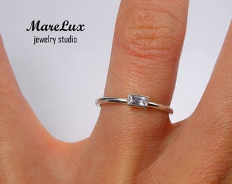 Lavender Baguette Cut Diamond Silver Ring, Lavender CZ Sterling Ring, Stackable Lavender Cubic Zirconia Ring 925 Silver Dainty Stacking Ring