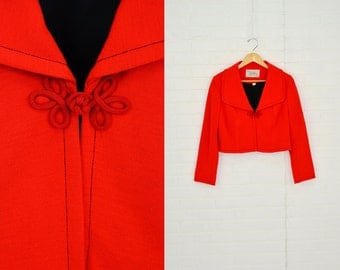 1960's Vintage Women's XL Alfred Werber Bright Red Asian Knit Bolero Jacket Sailor Collar