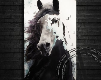 ANIMAL HORSE PAINTING on canvas // 18''x36''// contemporary oil art modern animal figurative