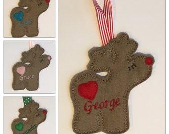 Personalised Christmas Reindeer Decorations First 1st Christmas Personalised Gift Christmas Decor Tree Ornaments Holiday Reindeers