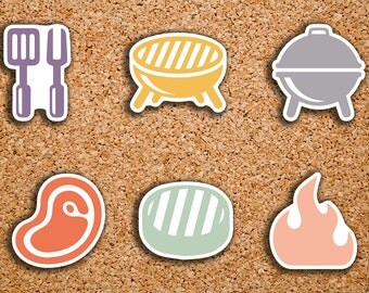 42 BBQ, Grilling, Burgers, Steak, Utensils, Charcoal Grill, Vacation, Summer Sampler Icon Stickers for 2017 Inkwell Press IWP-DC108