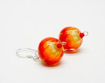 Green Plant Jewelry - Hippie Earrings - Glass Bead Earrings - Gift for Her - Nature Earrings Gift - Botanical Earrings - Lampwork Glass Bead