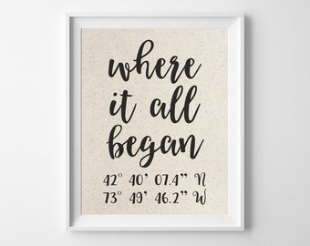 Where It All Began | Latitude Longitude GPS Coordinates | 100% Cotton Anniversary Gift | Where We Met | Wedding Location