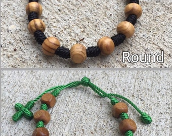 Wood Knotted Rosary Bracelet - made to order - 42 thread colors to choose from