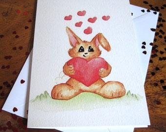 Cute Rabbit card, Bunny card, Greetings card, Any occassion card,  Birthday card, Bunny card,  Card, Rabbit card, Hearts