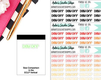 Bright or Pastel or Black Day Off Headers Labels Planner Stickers
