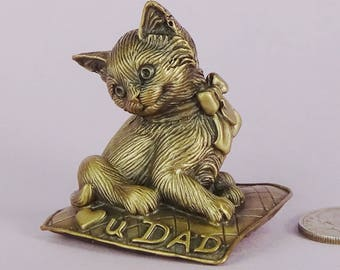 Luv U DAD Bronze Kitten Figurine, Cat Lover Gift for Him,Cat of Mine Small Kitten Sculpture,Handmade Bronze Kitten Figurine