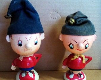 Noddy Wooden Egg Cups - TWO Original from 1960s