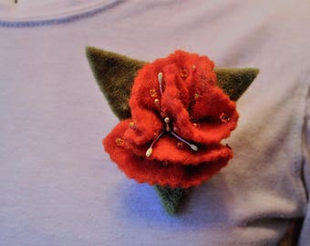 Copper Orange Flower Brooch With Leaves And Beading