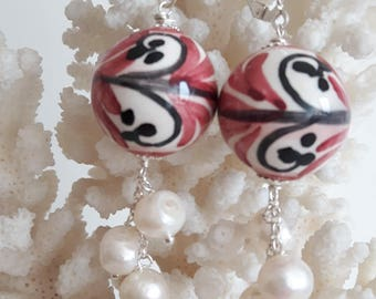Baroque Pearl Necklace and pearl earrings with white and silver Caltagirone