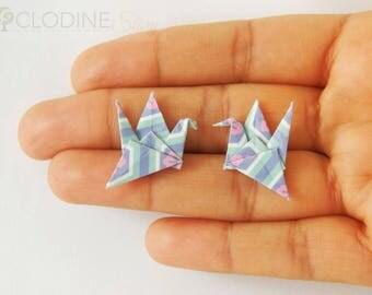 Blue/Pink origami crane stud earrings, Stud Earrings, Origami jewelry, Paper jewelry, Origami crane, Bird jewelry, Animal earrings