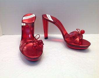Charles Jourdan Paris Red lucite acrylic disco mule heels US 10