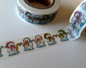 Snowman with Candy cane Washi Tape