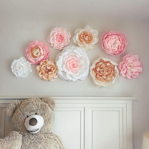 Deluxe Paper Flower Wall,  Set of 9,  Baby Girl Nursery,  Wedding Decor,  Event Photo Backdrop,  August/September Delivery