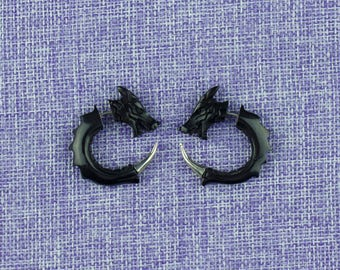 "Fake Gauge Earrings, ""Dragon style"" Horn, Naturally Organic, Hand Carved, Tribal"