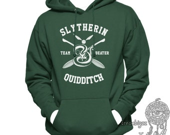 BEATER - Slyth Quidditch team Beater printed on Forest green Hoodie