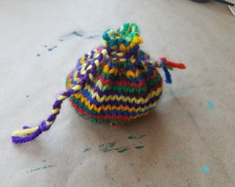 Rainbow Knitted Pouch Dice Bag