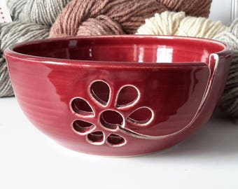 handmade yarn bowl with flower, crochet bowl,  pottery wool bowl, ceramic yarn bowl, knitter's bowl, unique yarn bowl, mother's day gift