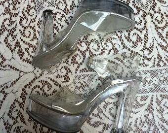 Clear lucite stripper heels