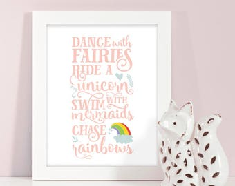 Buy One Get One, Dance With Fairies, Ride A Unicorn, Swim With Mermaids, Chase Rainbows, Girl's Wall Art, Fantasy Decor, Kids Room, 4 sizes