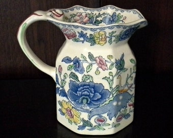 Mason's Regency Plantation Colonial Fenton Jug, Mason's Ironstone Milk Pitcher, Blue Transferware Pitcher, English Ironstone, FREE SHIPPING