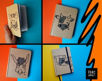 Tiger, Cow, Donkey, Bear ** Notebook with Illustration, Hand Draw-Tiger, cow, Donkey, Bear ** with hand-drawn illustration