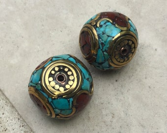 Tibetan Brass Bead with Turquoise and Carnelian Inlays