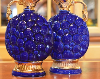 1960s Vintage Jim Beam #145 Blue Purple Grapes Decanter (Set of 2)