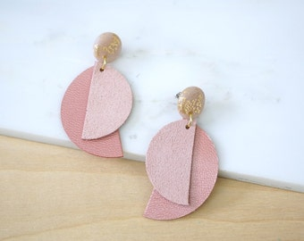 Valentines Day gift, dangle earrings,statement earrings,pink earrings,long earrings,geometric earrings,leather earrings,polymer clay jewelry
