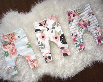 FLORAL BABY LEGGINGS; newborn outfits, floral coming home, baby leggings, flowers, watercolor