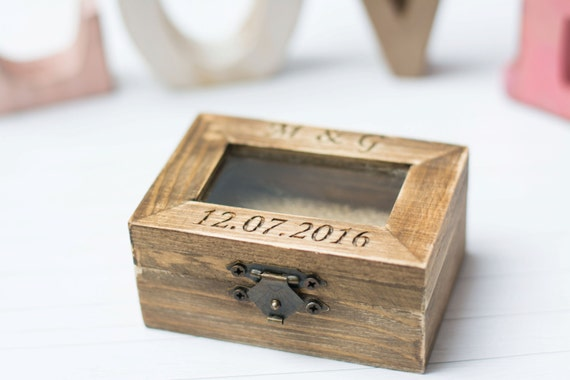 Personalized Glass Ring Box Rustic Wedding Ring Box Bearer Wooden Ring Holder Wedding Ring Pillow Burlap Moss Wedding decoration