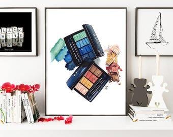 Makeup illustration, Makeup drawing, Dior illustration, Dior makeup, Fashion illustration, fashion poster, Miss Dior, watercolor painting