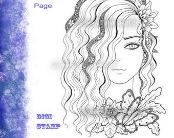 Eve - Fantasie Doodle/Zentangle Ausmalbild Digi Stamp Adult Coloring