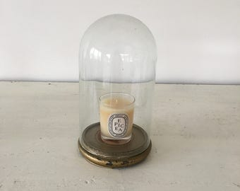 Vintage French gold leaf base and glass dome