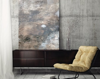 "Large Abstract Painting, canvas art, modern art, abstract art fine art print wall art white neutral grey gray ""Shifting X"""