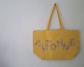 Tote bag yellow and floral 100% cotton for your shopping, beach, walk. Can be customized