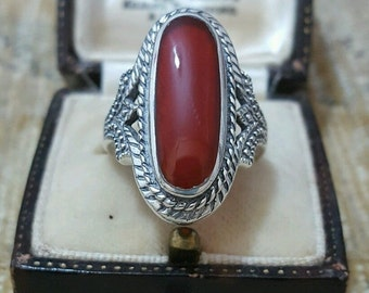 Vintage sterling silver signet ring with large carnelian, size p 1/2
