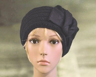 Black knitted beret, Knit wool hats, Winter warm hat, Knit wool beret, Womens knit cap, Women's  beanie hat, Knit beret for lady