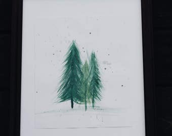 Watercolor Framed Trees